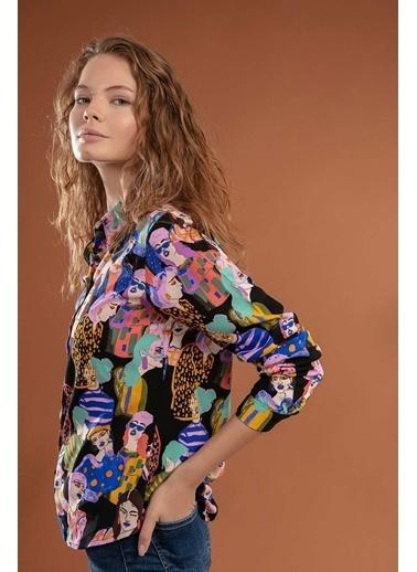 Pattaya Pattaya Kadın Desenli Uzun Kollu Gömlek Y20W110-3848 Siyah